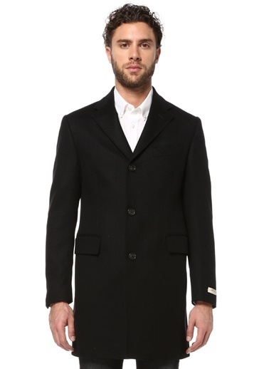 Beymen Collection İngiliz Yaka Klasik Yün Palto Siyah